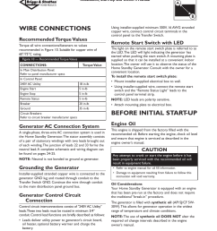wire connections before initial start up recommended torque values briggs stratton 01975 0 user manual page 16 80 [ 954 x 1235 Pixel ]