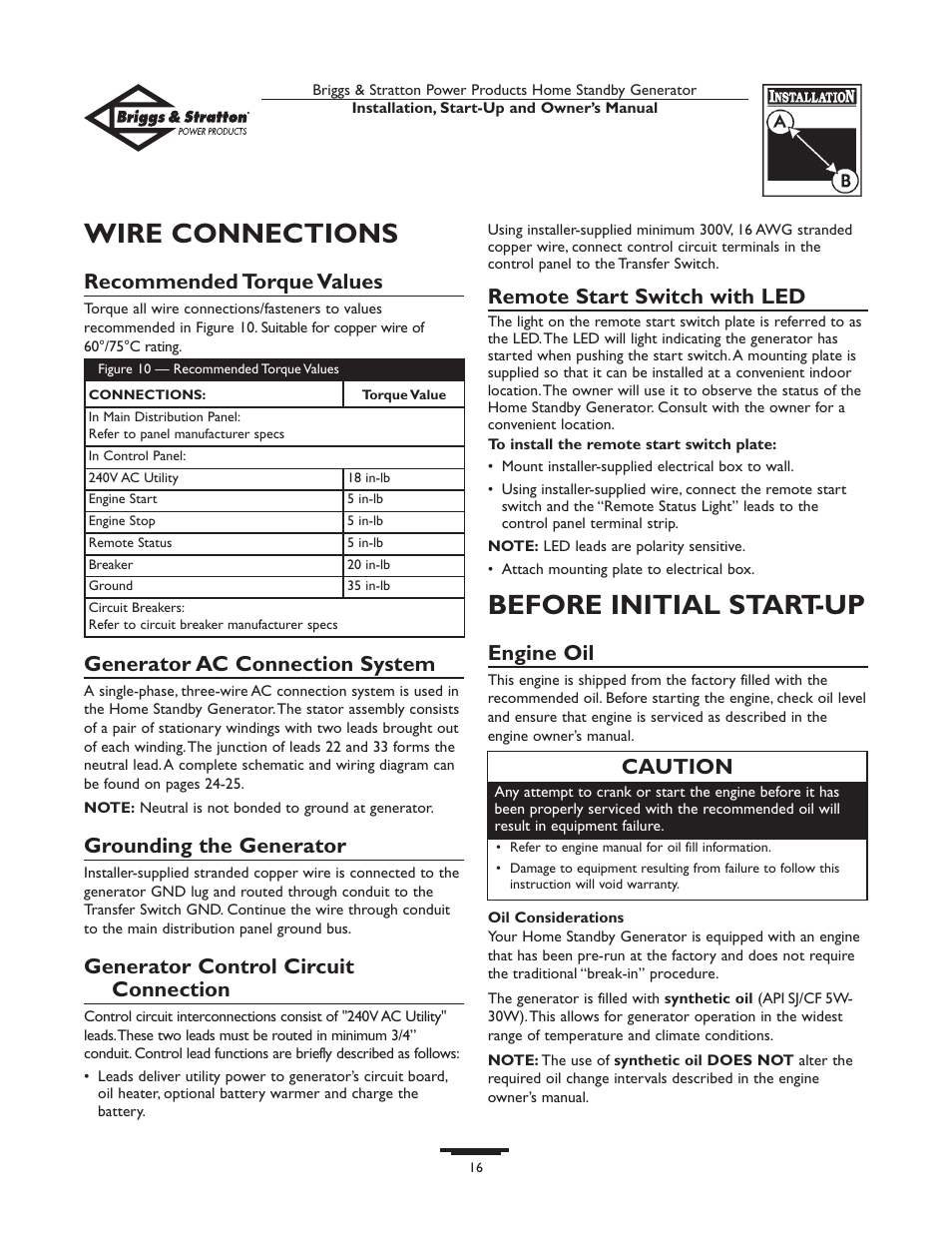 medium resolution of wire connections before initial start up recommended torque values briggs stratton 01975 0 user manual page 16 80