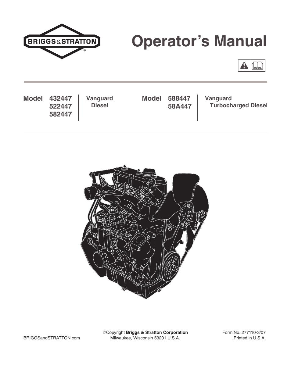 BRIGGS AND STRATTON OPERATOR S MANUAL  Auto Electrical