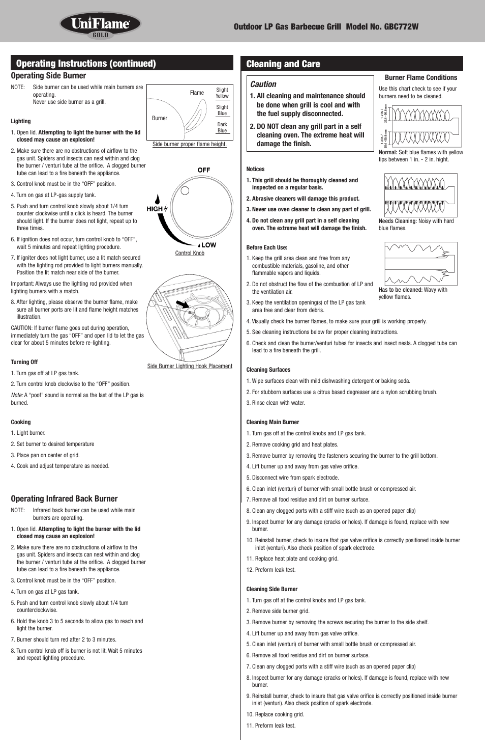 Cleaning and care, Operating instructions (continued