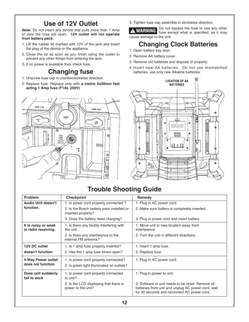 small resolution of use of 12v outlet changing fuse changing clock batteries bosch bosch pb360s user manual page 12 40