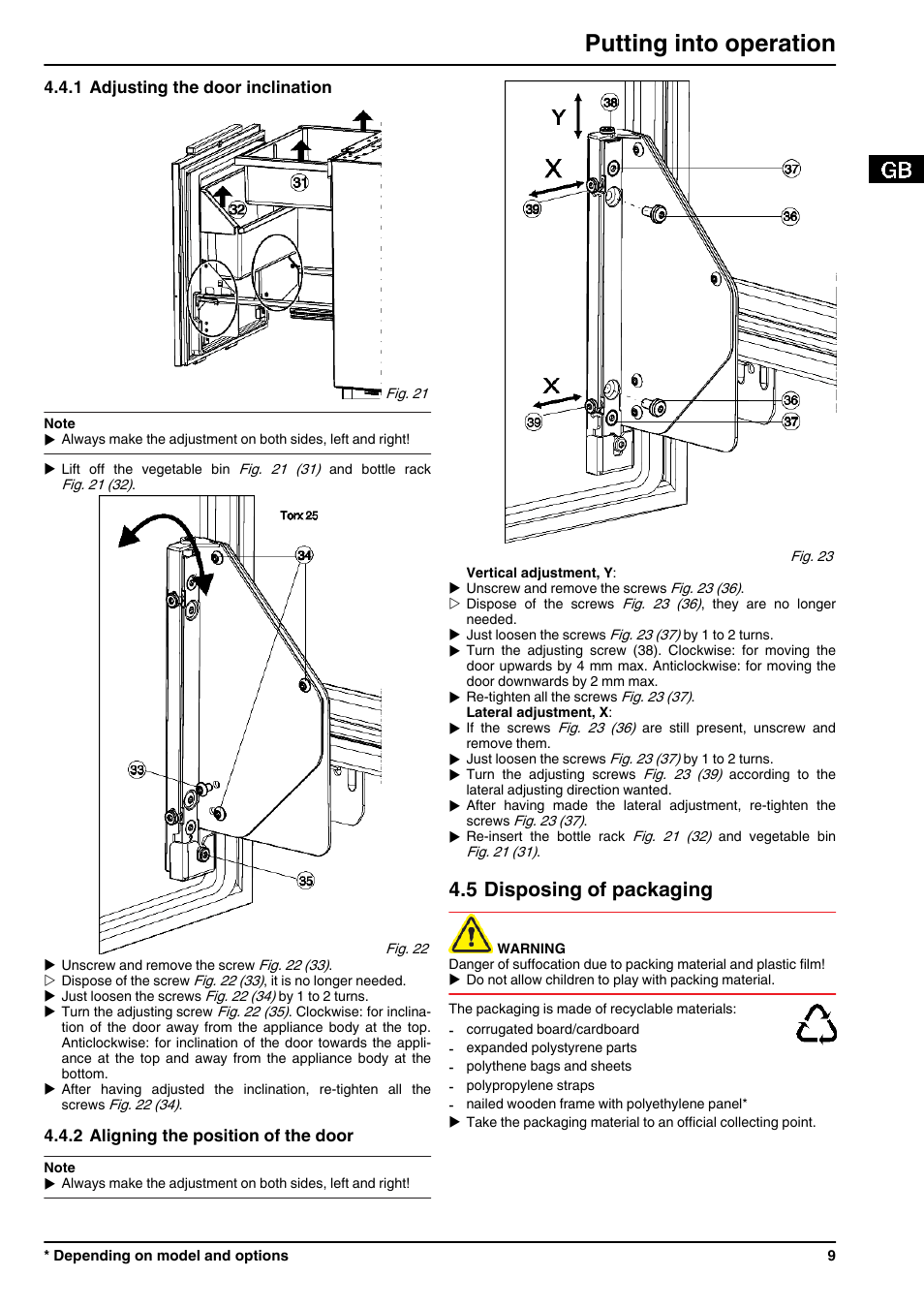 1adjusting the door inclination, 2aligning the position of