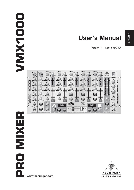 BEHRINGER VMX1000 MANUAL PDF
