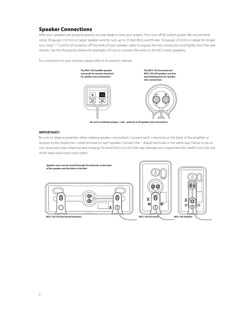 medium resolution of speaker connections boston acoustics mcs 130 surround user manual page 4 7