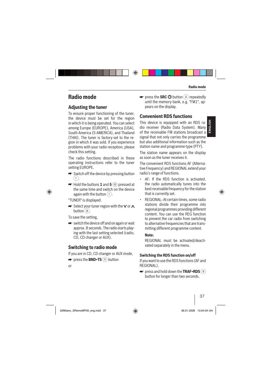 Radio mode, Adjusting the tuner, Switching to radio mode
