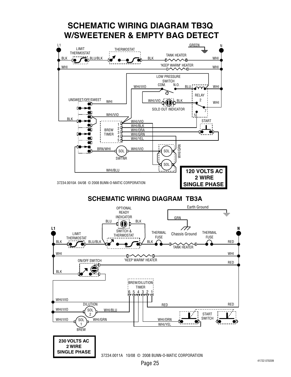 medium resolution of schematic wiring diagram tb3a page 25 120 volts ac 2 wire single phase bunn tb3q lp user manual page 25 27