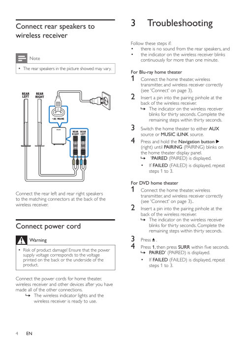 small resolution of 2 connect place the wireless receiver connect the wireless transmitter philips rwss5512 00 user manual page 6 9