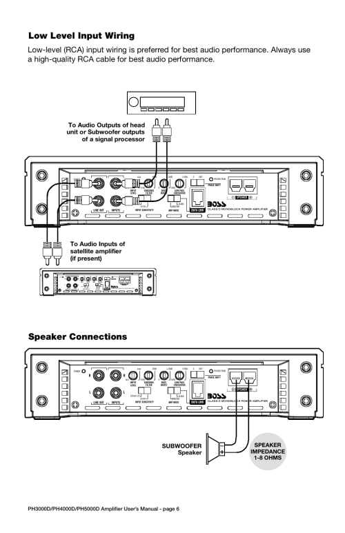 small resolution of troubleshooting specifications low level input wiring power connections speaker connections model