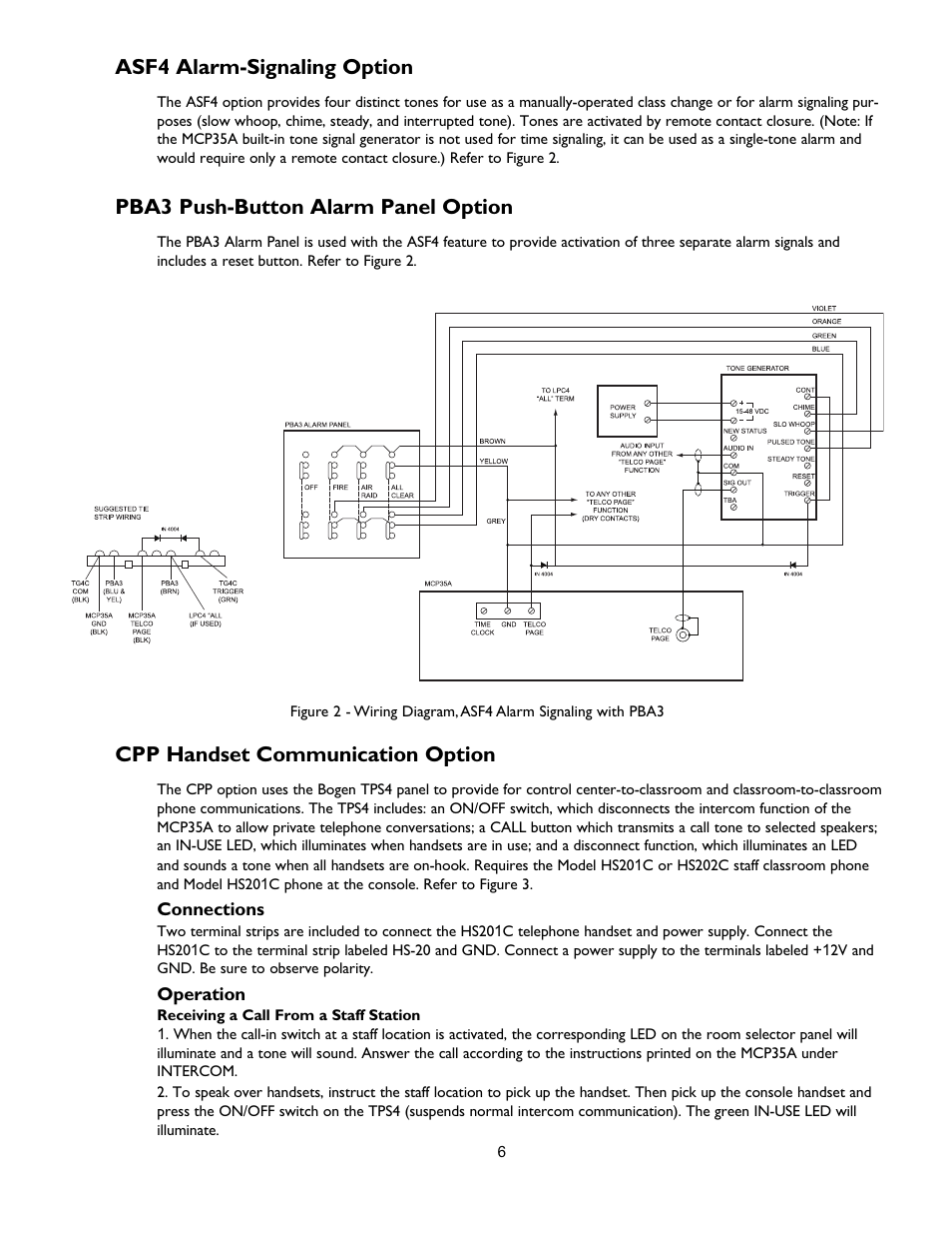 hight resolution of asf4 alarm signaling option pba3 push button alarm panel option cpp handset communication option bogen multi graphic mcpb user manual page 6 12