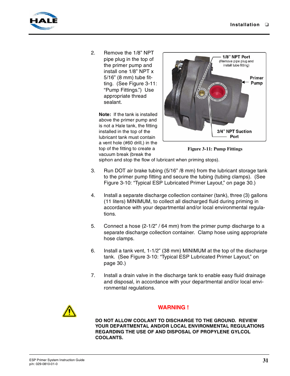 hight resolution of figure 3 11 pump fittings hale esp priming system user manualfigure 3 11 pump fittings hale