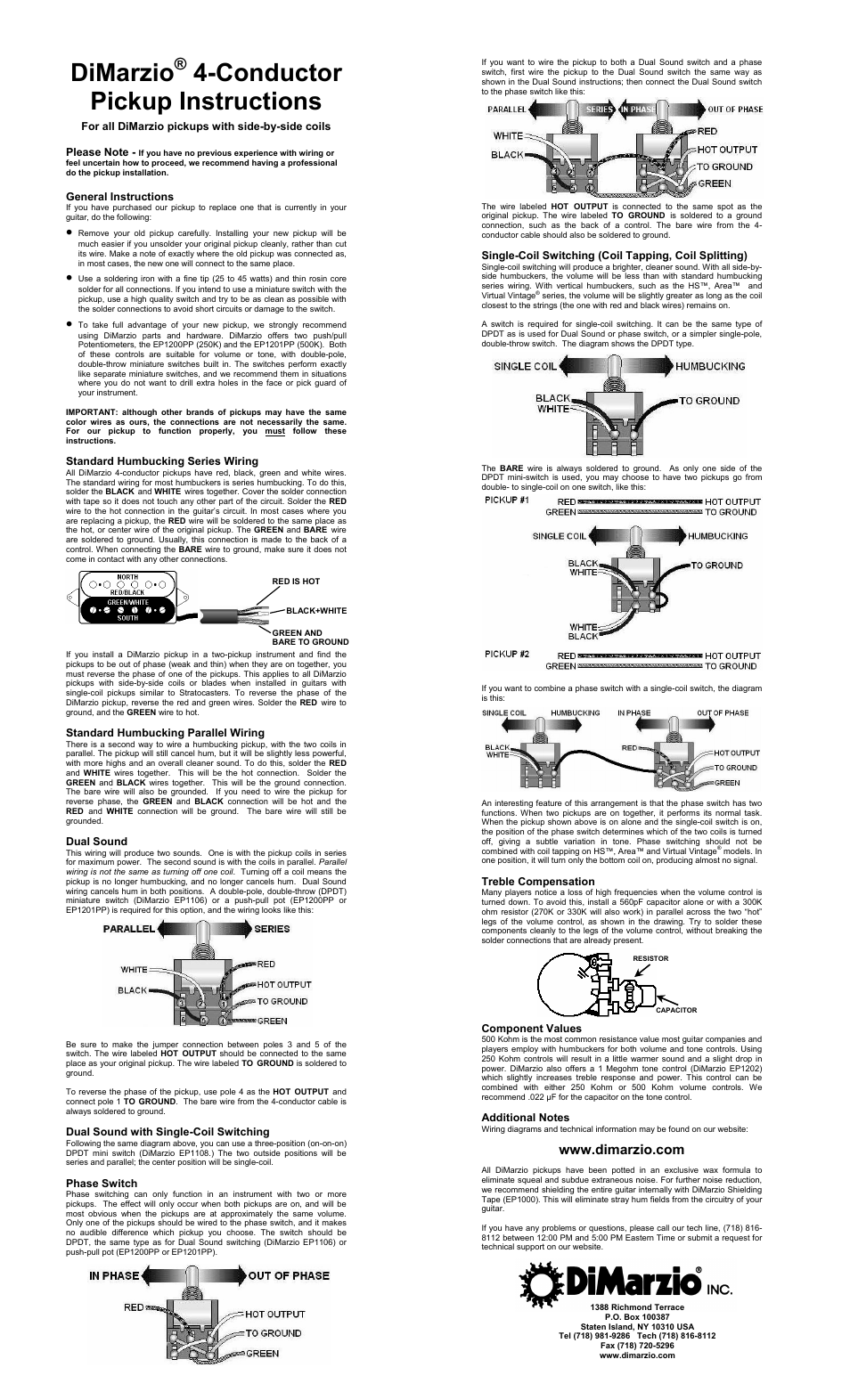 medium resolution of dimarzio super distortion 8 user manual 1 page also for paf 8