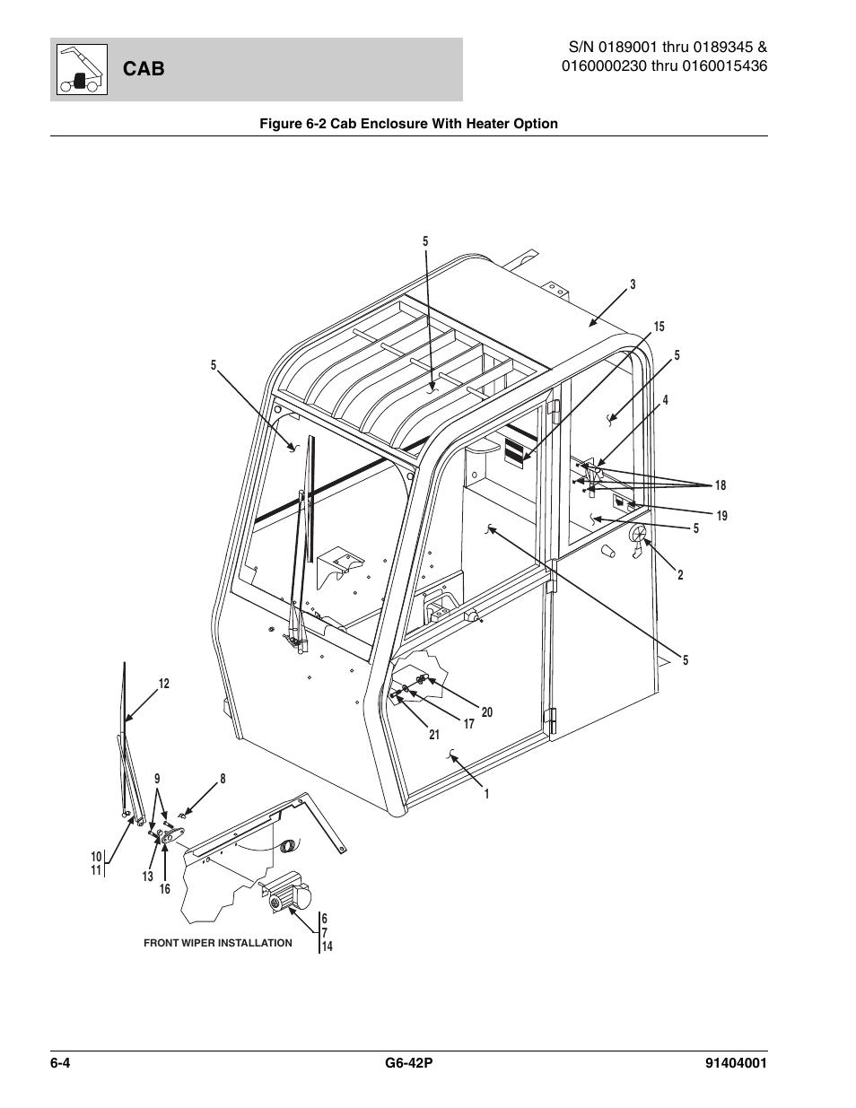 Figure 6-2 cab enclosure with heater option, Cab enclosure