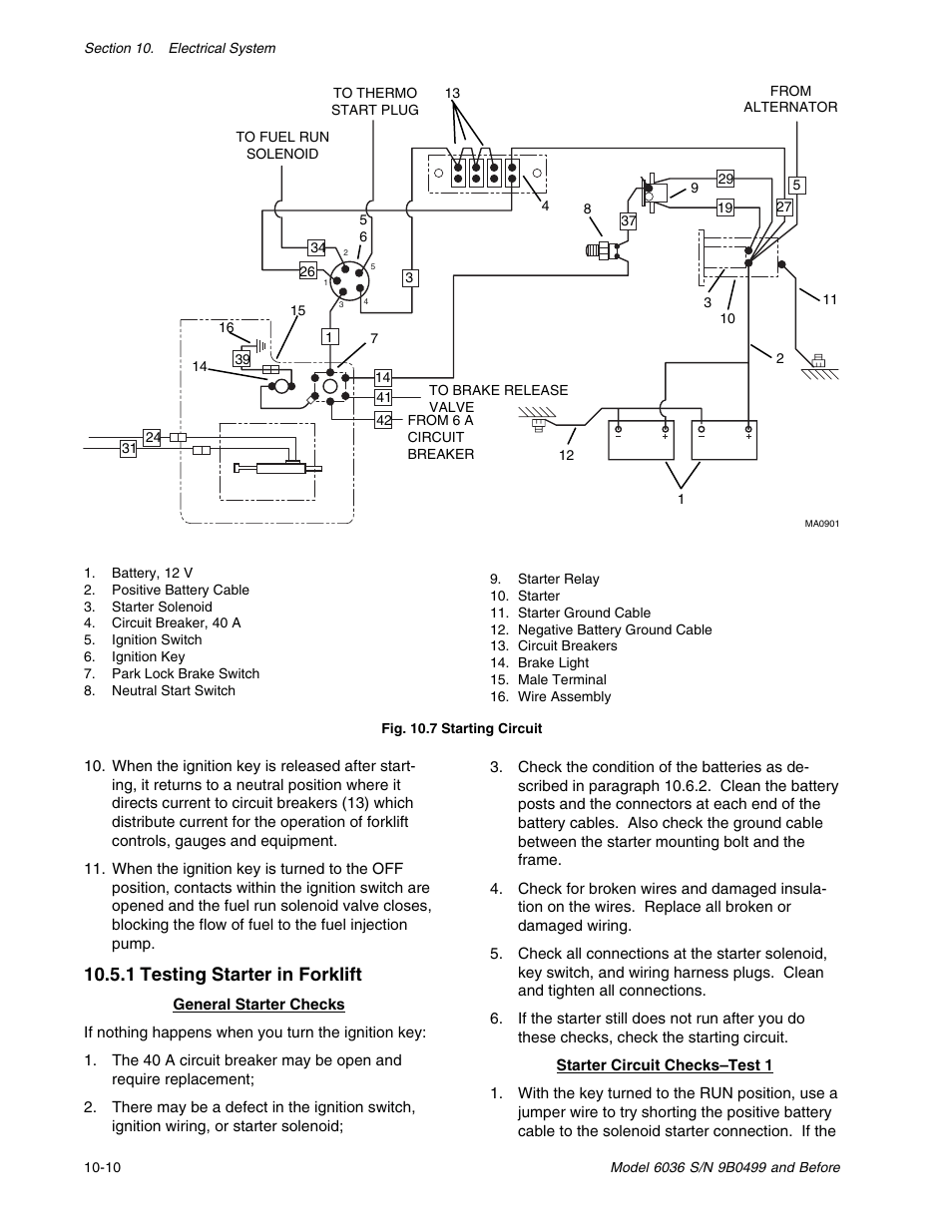 hight resolution of 1 testing starter in forklift skytrak 6036 service manual user manual page 204 280