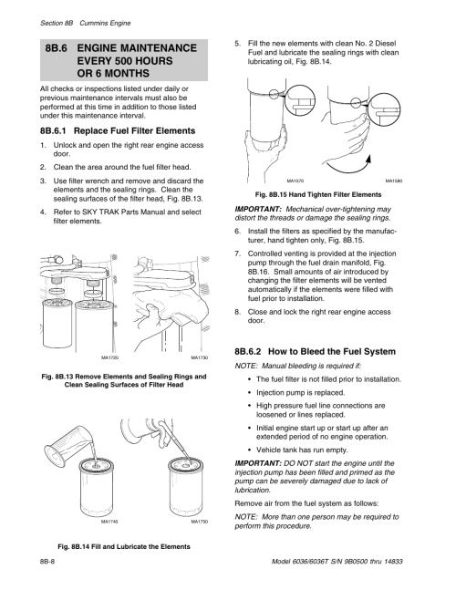 small resolution of 8b 6 1 replace fuel filter elements 8b 6 2 how to bleed the fuel system skytrak 6036 service manual user manual page 128 342
