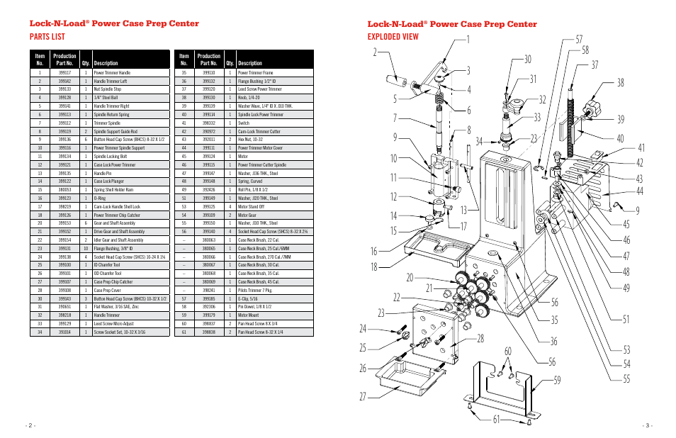 Lock-n-load, Power case prep center parts list lock-n-load