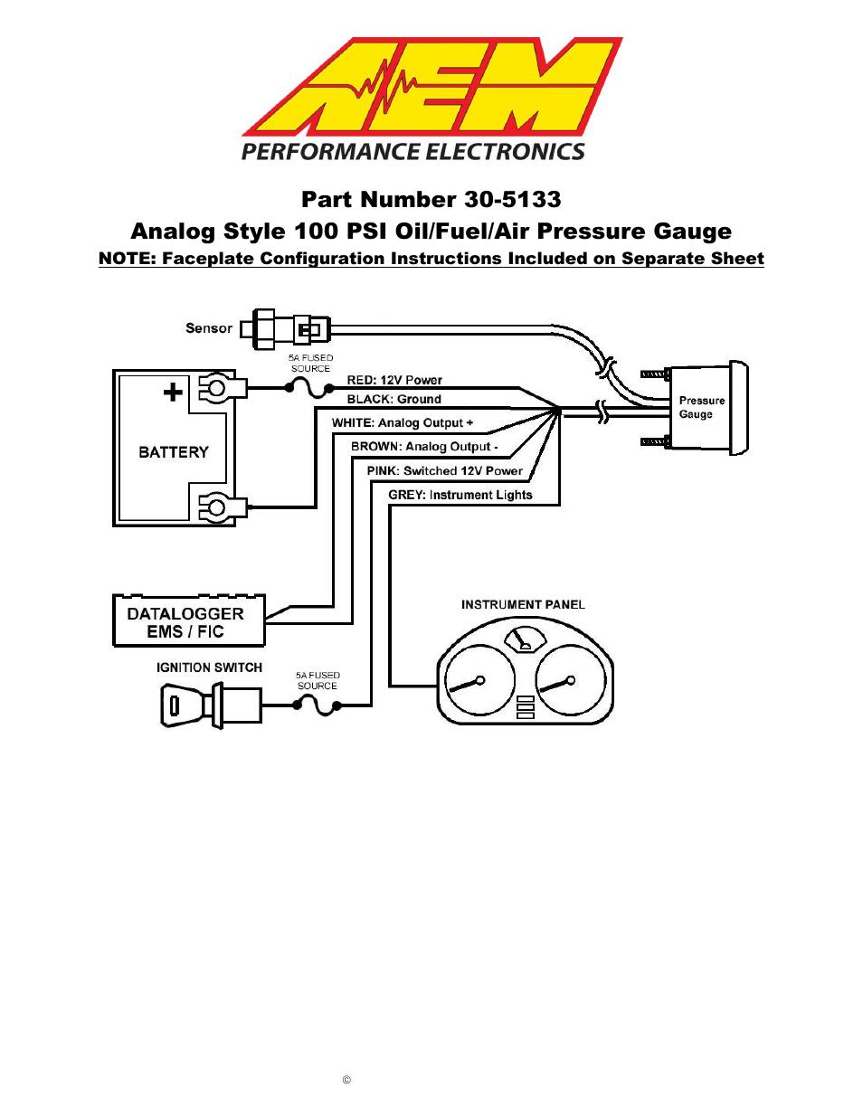 pricol oil pressure gauge wiring diagram 17th edition consumer unit air schematic best library cummins alternator aem 30 5135m analog