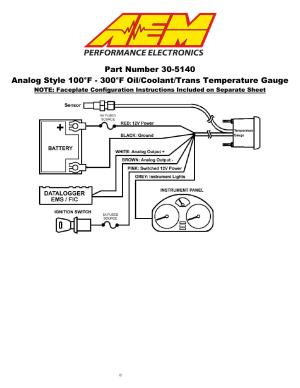 AEM 305140M Analog Oil Transmission Water Temperature
