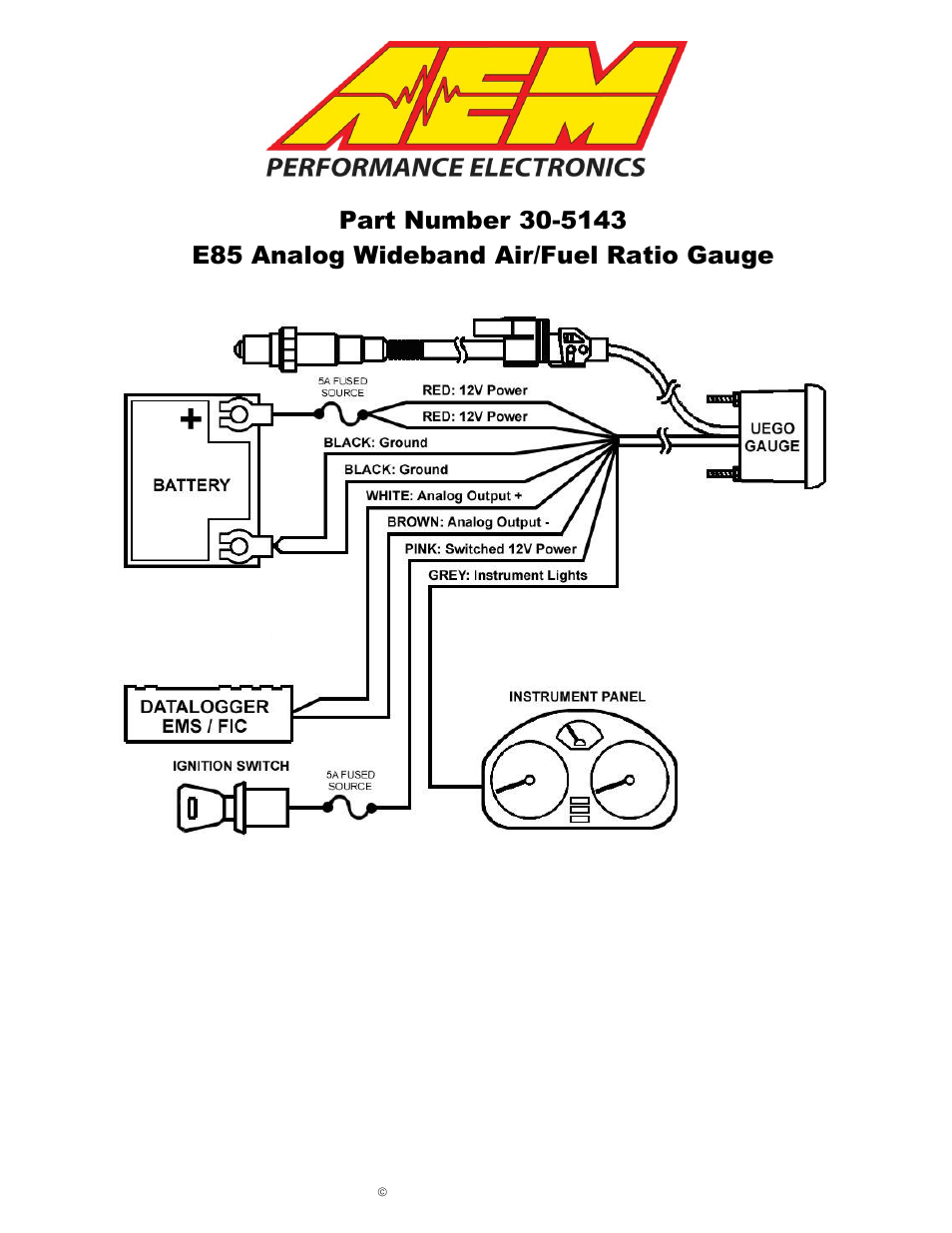 AEM 30-5143 Analog E85 Wideband UEGO Gauge E85 AFR User