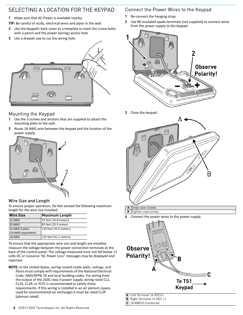 medium resolution of selecting a location for the keypad mounting the keypad connect the power wires to