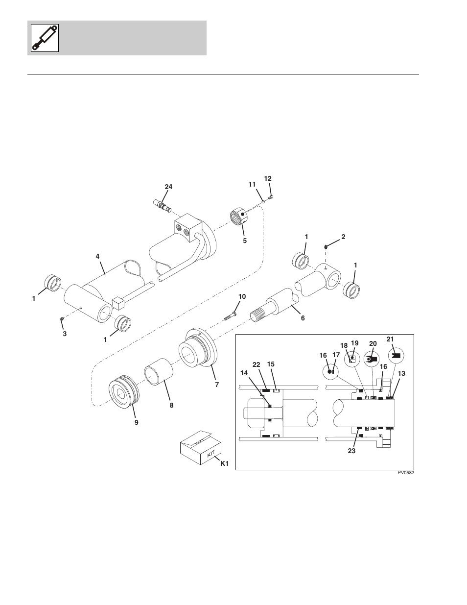Figure 9-1 front carriage tilt cylinder, Front carriage