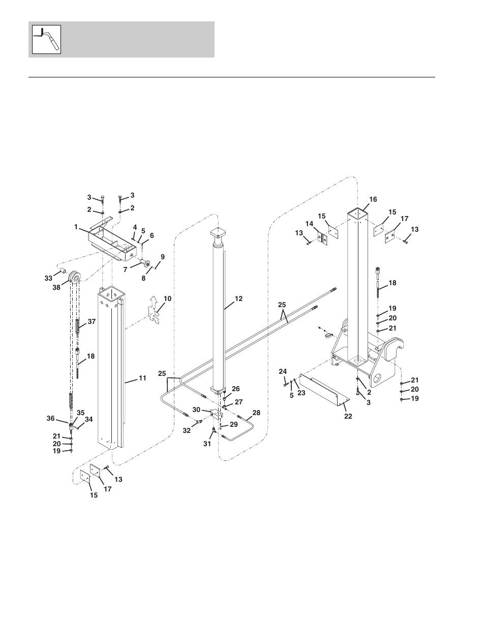 Figure 3-11 8 ft vertical mast assembly, 8 ft vertical