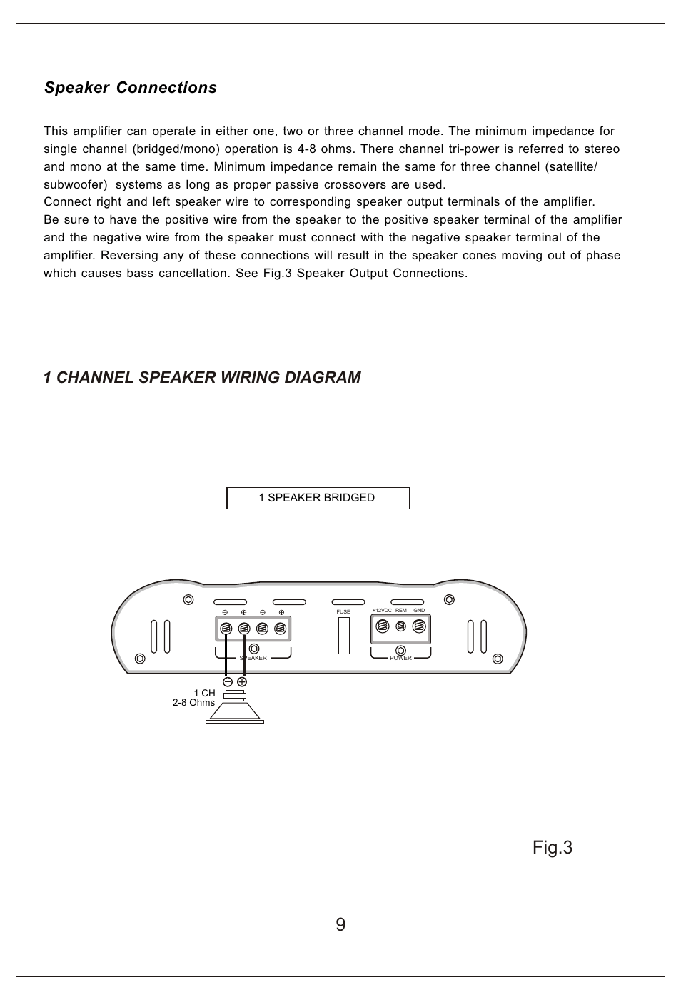 hight resolution of fig 3 1 channel speaker wiring diagram speaker connections bassworx ba150 2 user manual page 10 16