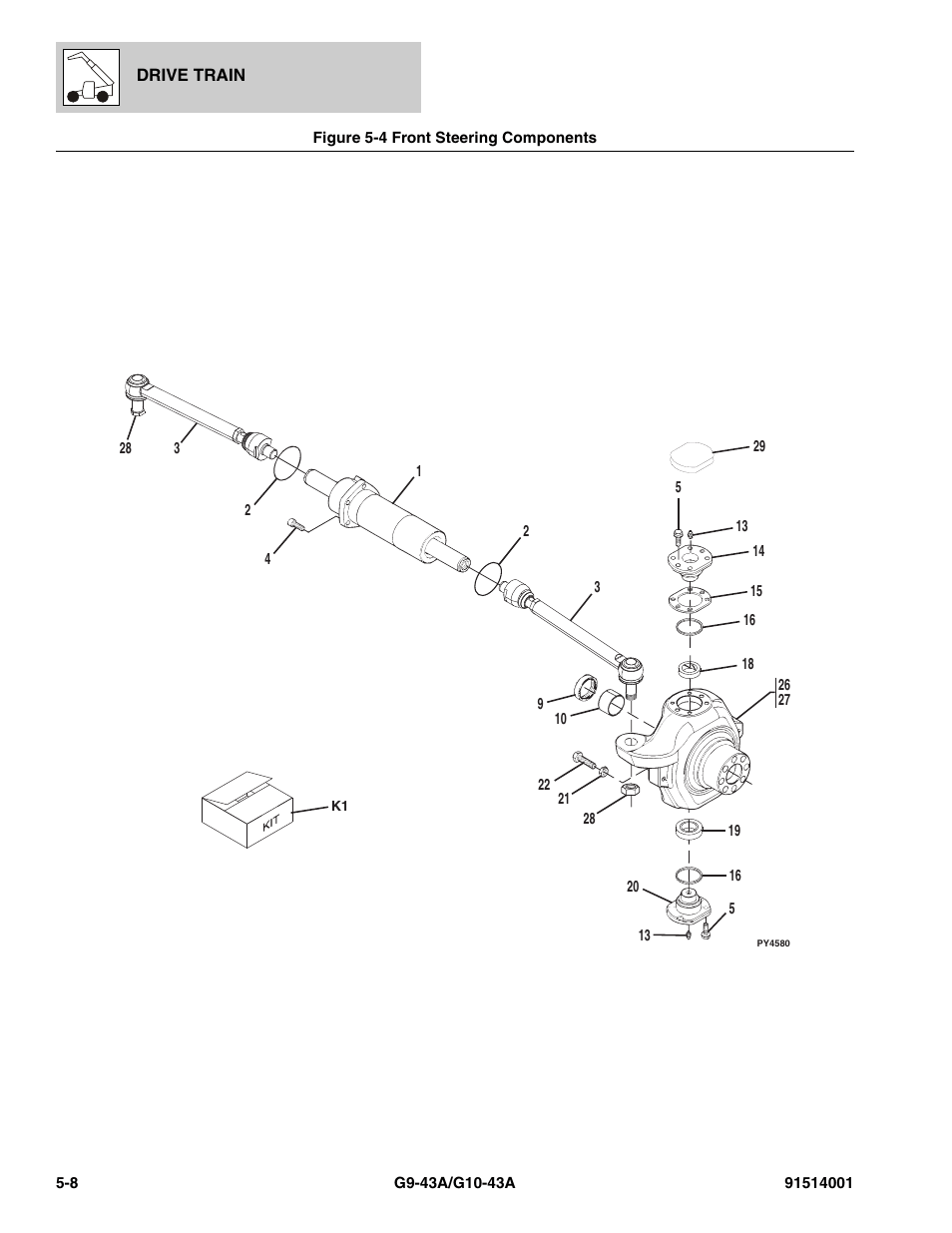 Figure 5-4 front steering components, Front steering