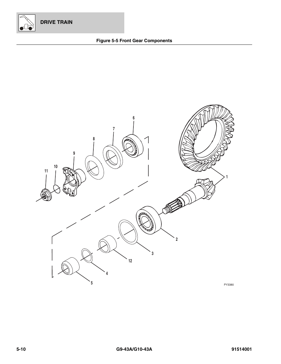 Figure 5-5 front gear components, Front gear components