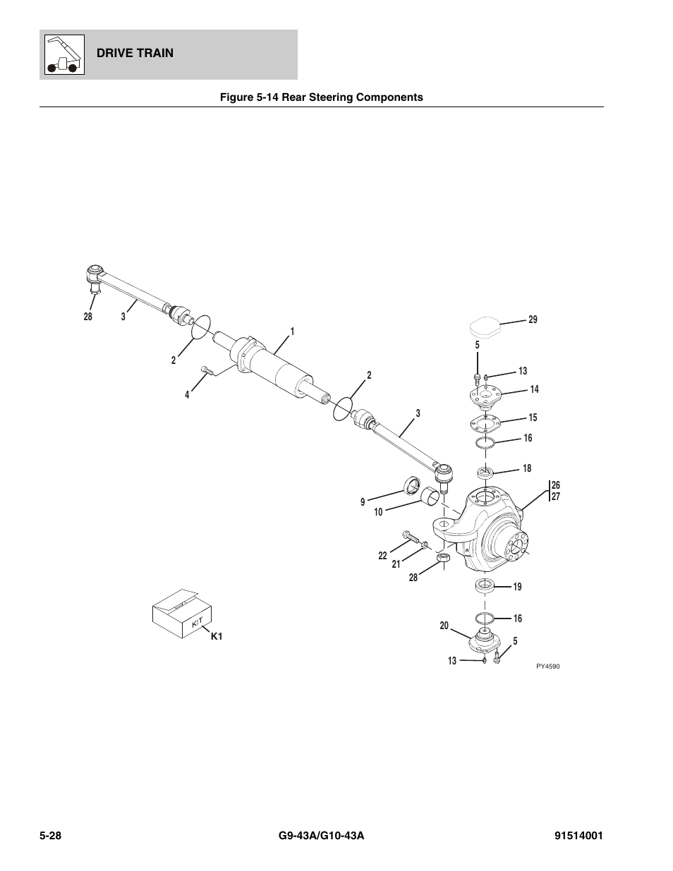 Figure 5-14 rear steering components, Rear steering