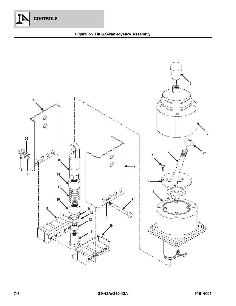 Figure 7-2 tilt & sway joystick assembly, Tilt & sway