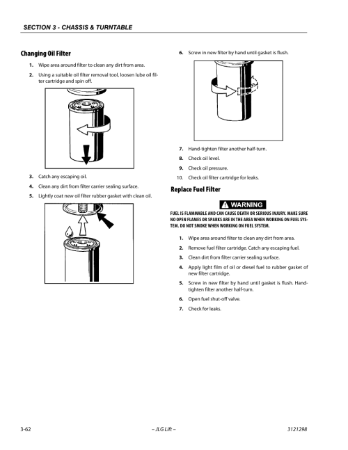 small resolution of changing oil filter replace fuel filter changing oil filter 62 replace fuel filter 62 jlg 660sj service manual user manual page 106 328