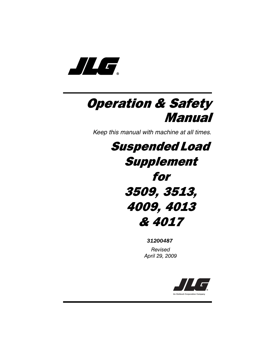 JLG 4009 Suspended Load Supplement Operator Manual User