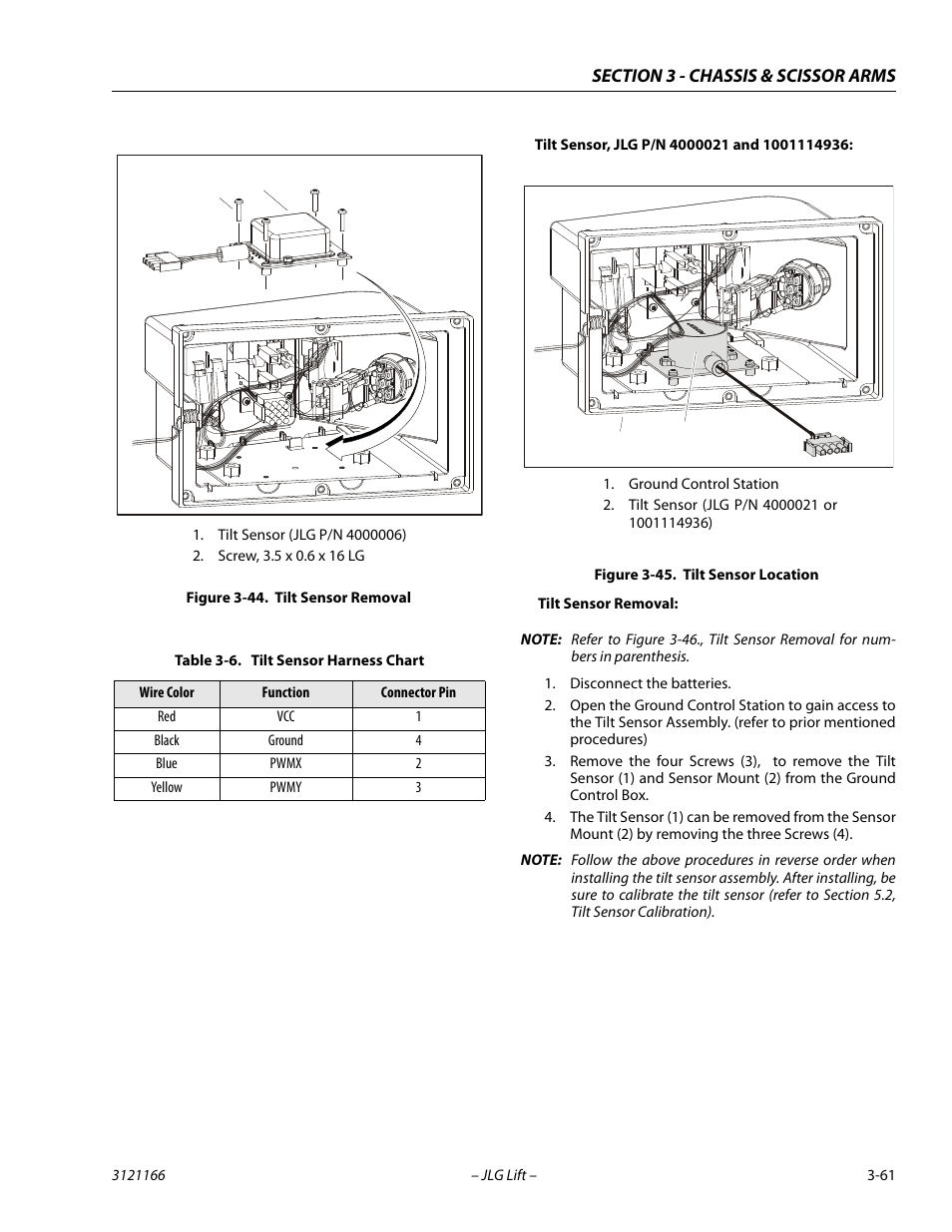 hight resolution of tilt sensor removal 61 tilt sensor location 61 tilt sensor harness chart 61 jlg 3246es service manual user manual page 97 222