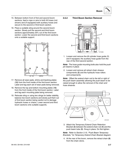 small resolution of 2 third boom section removal third boom section removal jlg g6 42a service manual user manual page 45 206