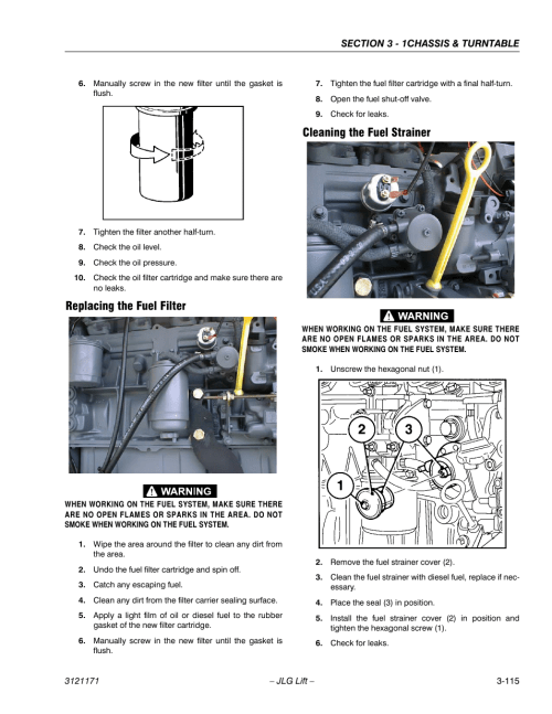 small resolution of replacing the fuel filter cleaning the fuel strainer jlg 1250ajp service manual user manual page 163 606