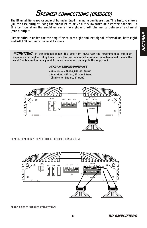 medium resolution of peaker connections bridged en gl is h ba amplifiers bazooka ba260