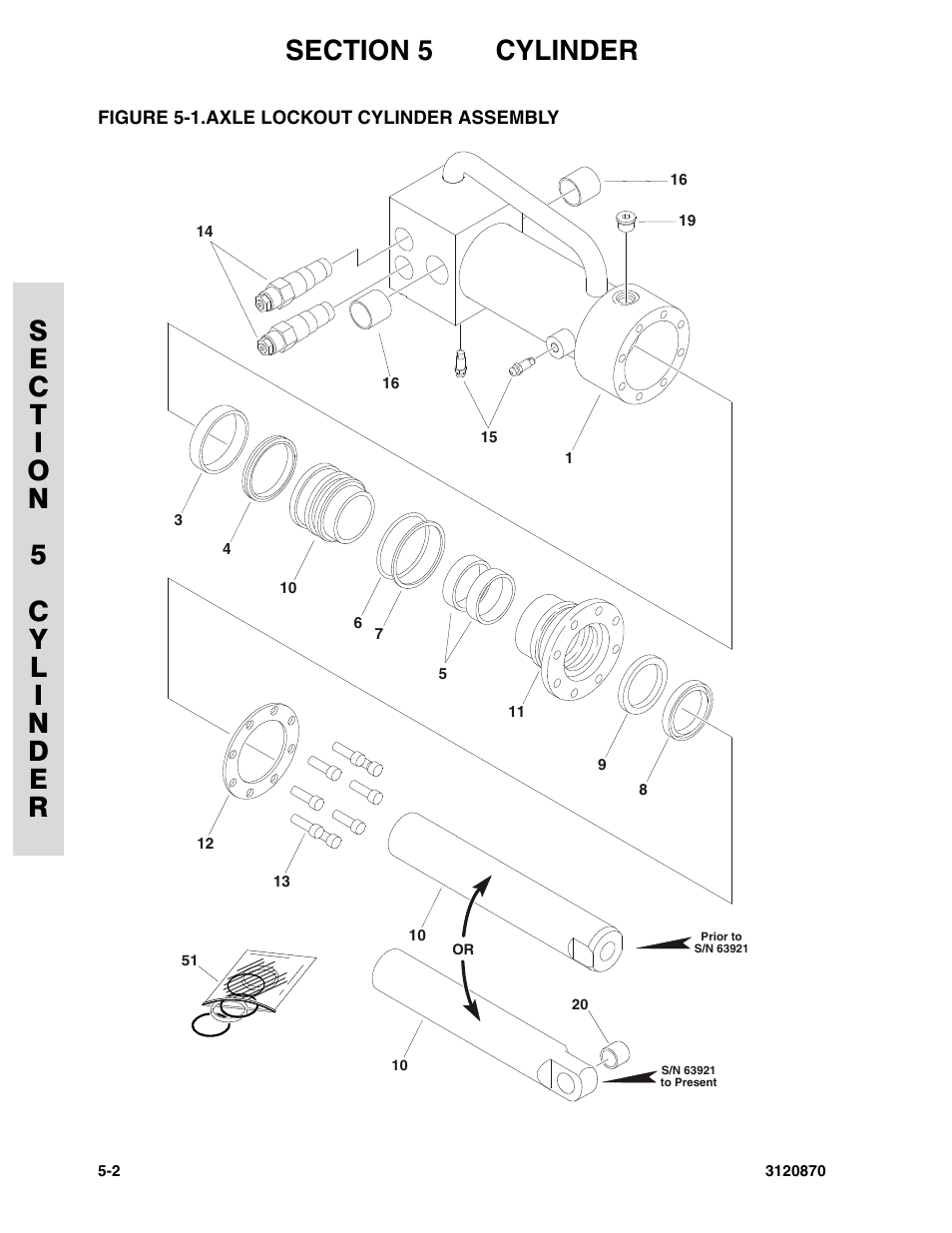 Figure 5-1. axle lockout cylinder assembly, Axle lockout