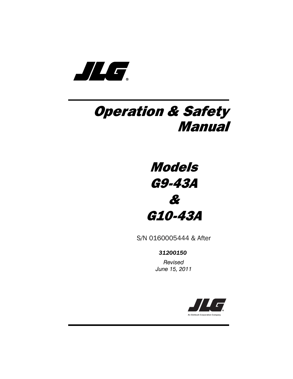 JLG G10-43A (0160005444 & After) Operator Manual User