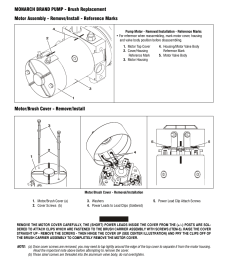 monarch brand pump brush replacement motor assembly remove install reference marks motor brush cover remove install jlg 41am 3120752 service  [ 954 x 1235 Pixel ]