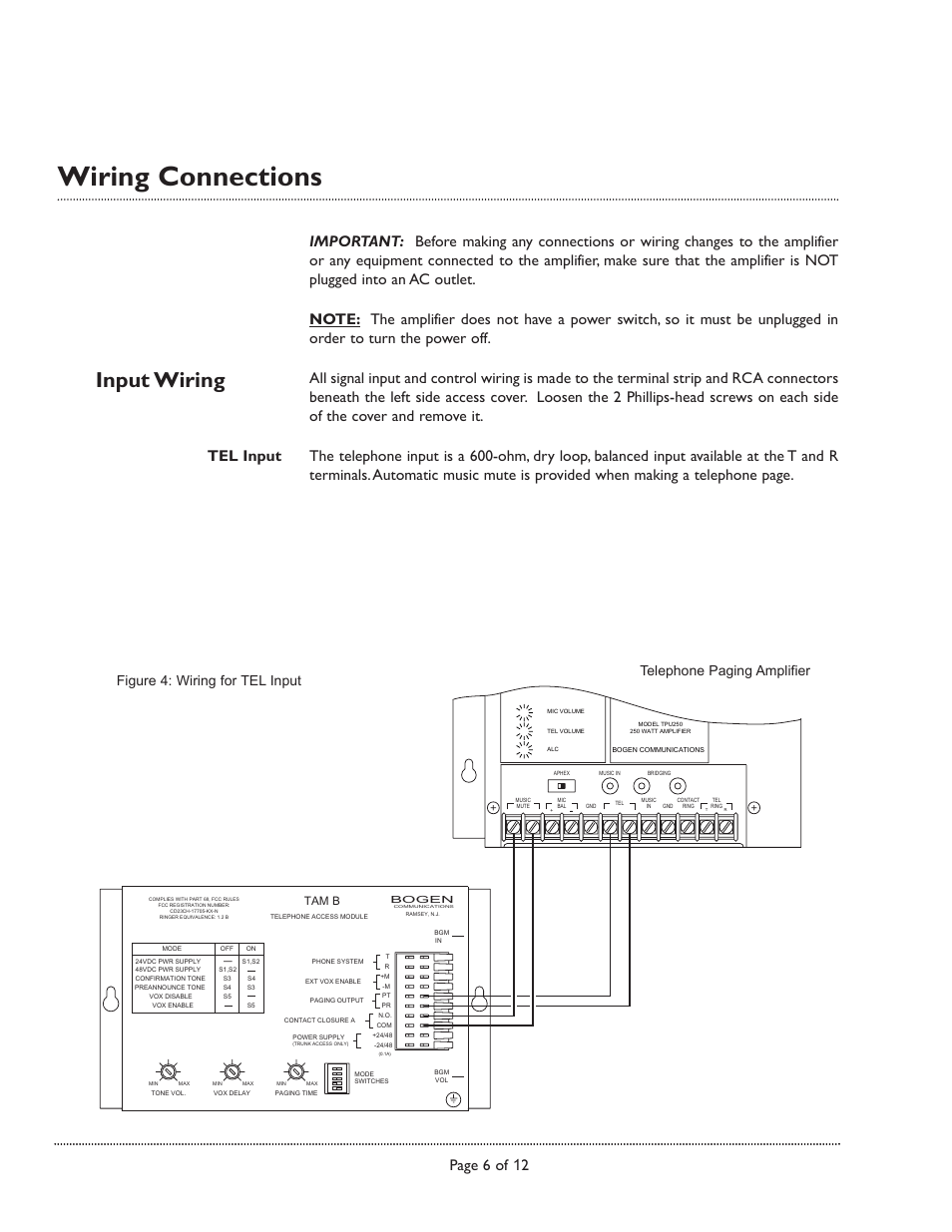 medium resolution of wiring connections input wiring page 6 of 12 bogen tpu250 userwiring connections input