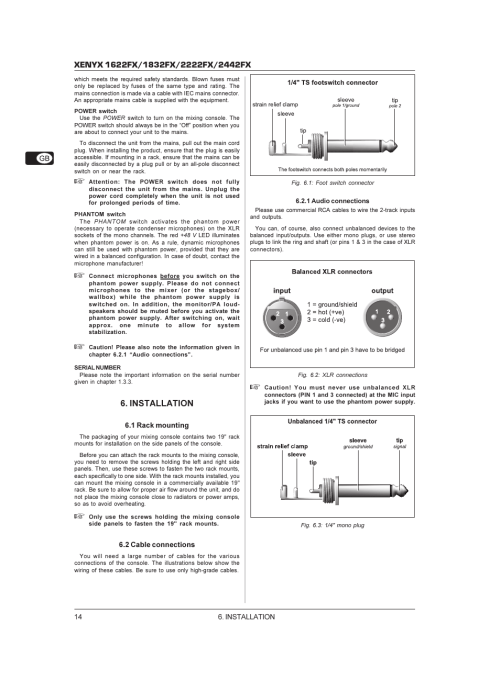 small resolution of  1 4 plug installation behringer xenyx 1622fx user manual page 14 17 on balanced rca jack
