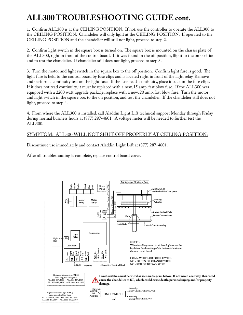 hight resolution of all300 troubleshooting guide cont aladdin light lift all300 cm user manual page 13 14