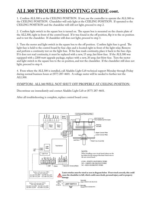 small resolution of all300 troubleshooting guide cont aladdin light lift all300 cm user manual page 13 14