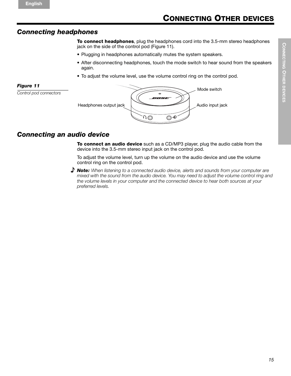 medium resolution of onnecting ther devices connecting headphones bose companion 5 user manual page 17 56