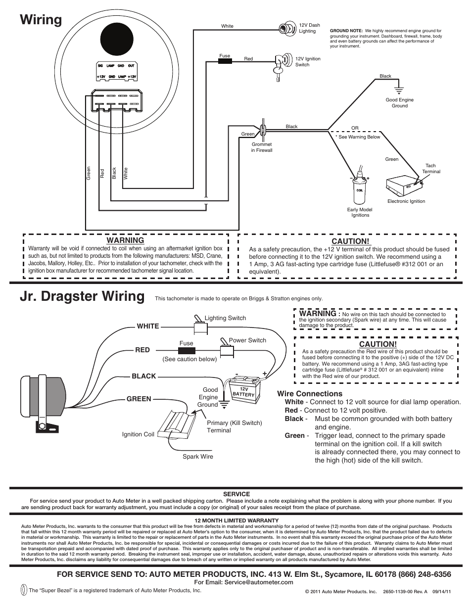 hight resolution of wiring jr dragster wiring auto meter 5780 user manual page 2