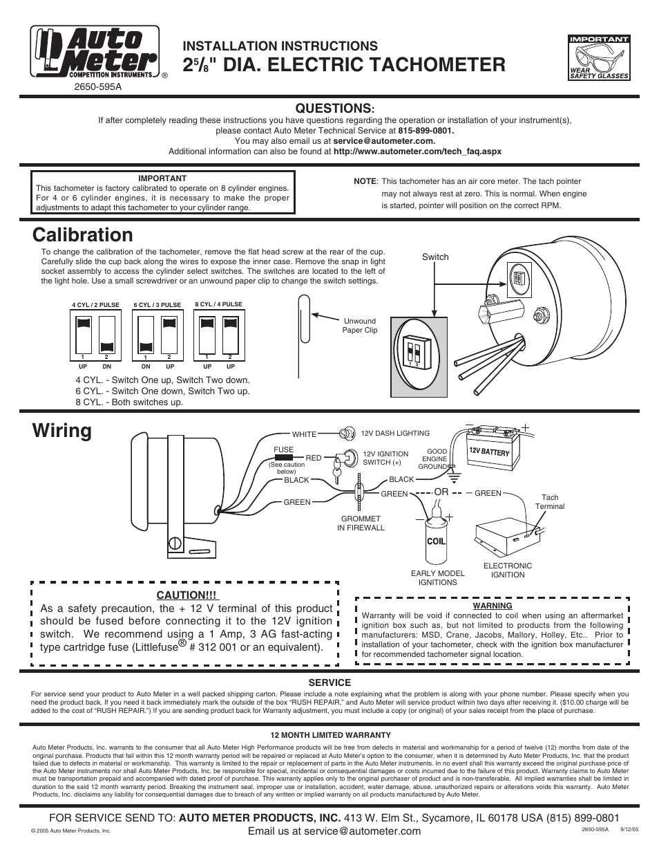 medium resolution of auto meter tachometer wiring wiring diagram third levelauto meter 2893 user manual 1 page also for