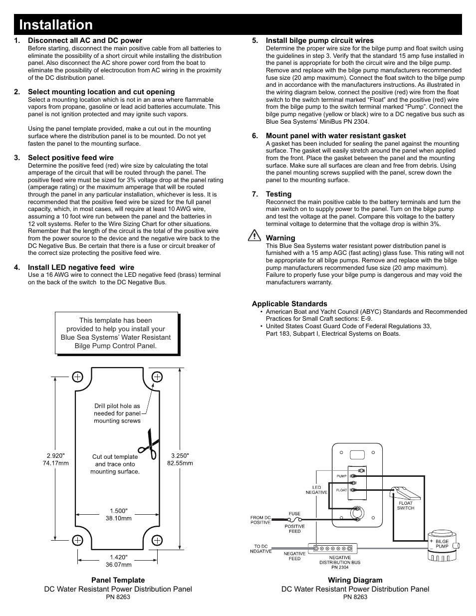 hight resolution of installation blue sea systems 8263 contura water resistant 12v dc panel bilge pump control user manual page 2 2