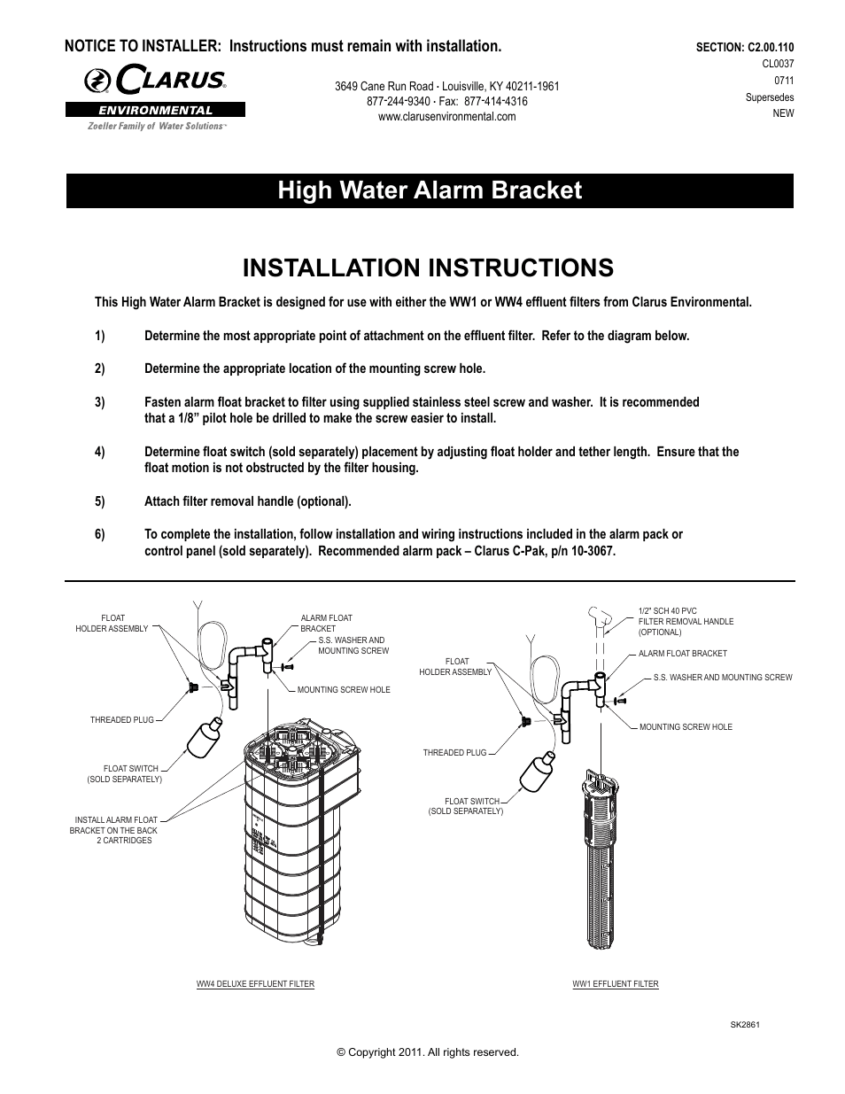 hight resolution of clarus environmental ww1 high water alarm bracket user manual 2 pages also for ww4 high water alarm bracket