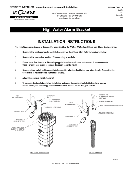 small resolution of clarus environmental ww1 high water alarm bracket user manual 2 pages also for ww4 high water alarm bracket