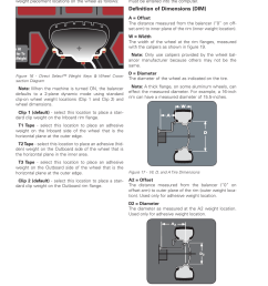 direct select weight location setting wheel dimensions dim coats 1100 series balancer user manual page 16 28 [ 954 x 1235 Pixel ]